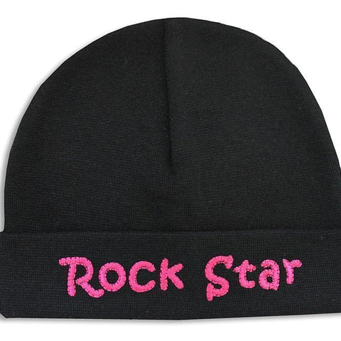 Embroidered Hat Black // Rock Star Pink