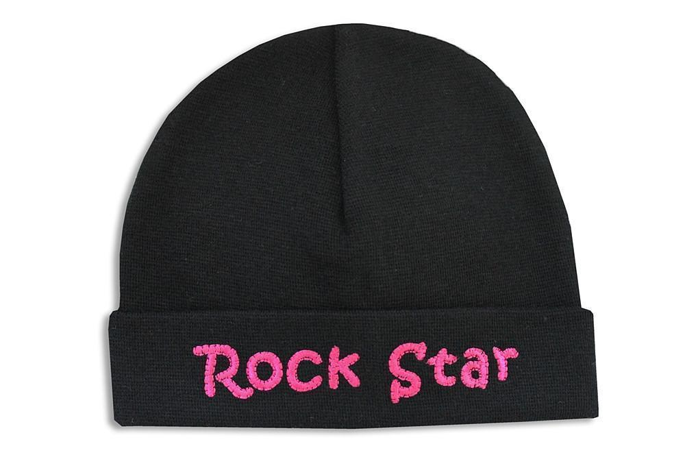 Embroidered Hat Black // Rock Star Pink-Embroidered Hats-UniqueKidz
