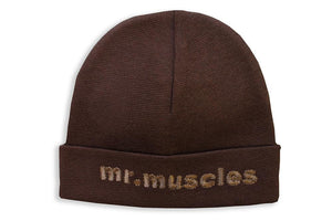 Embroidered Hat Brown // Mr. Muscles-Embroidered Hats-UniqueKidz