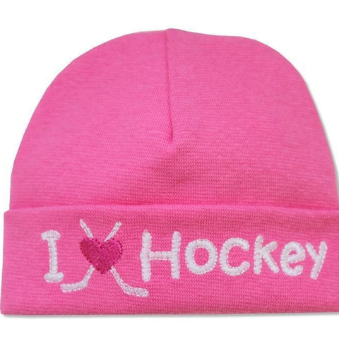 Embroidered Hat Fuchsia // I Love Hockey