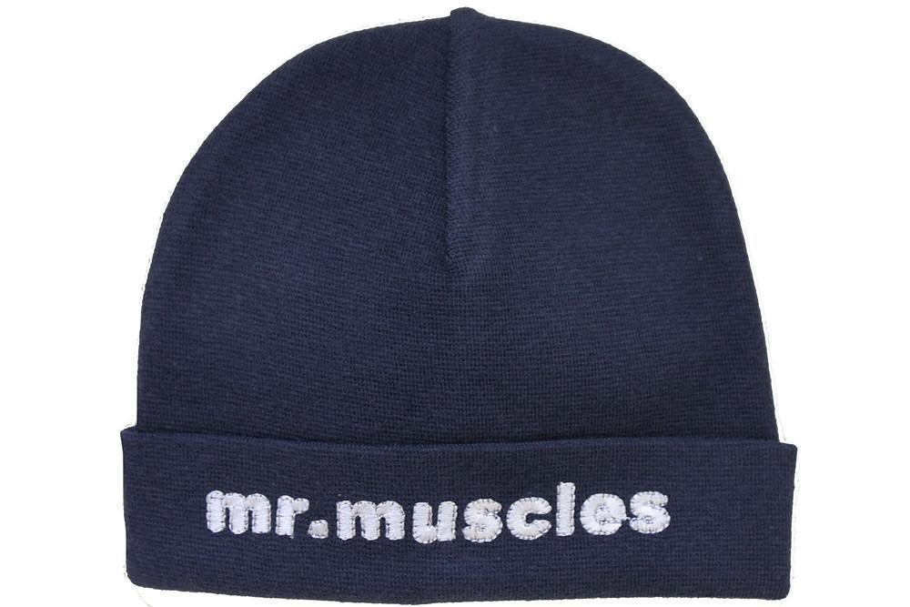 Embroidered Hat Navy // Mr. Muscles-Embroidered Hats-UniqueKidz
