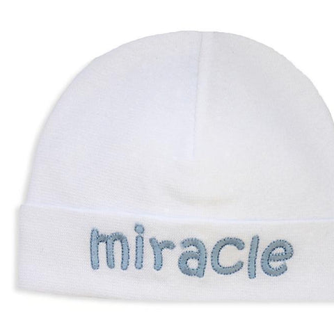 Embroidered Hat White // Miracle Blue