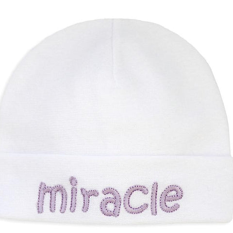 Embroidered Hat White // Miracle Lavender
