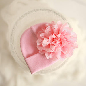 'Eyelet' Flower Hospital Hat // Pink-Flower Hospital Hats-UniqueKidz