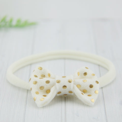 'Sweet' Felt Dot Bow // Salted Caramel
