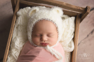 'Honey Bear' Knitted Baby Bonnet // White-Knit Baby Hats-UniqueKidz