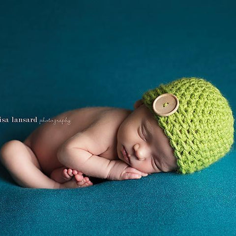 'James' Button Baby Hat // Lime