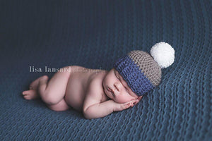 'Jaxon' Pom Pom Hat // Blue, Grey + White-Pom pom crochet hats-UniqueKidz