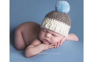 'Jaxon' Pom Pom Hat // Cream, Grey + Blue-Pom pom crochet hats-UniqueKidz