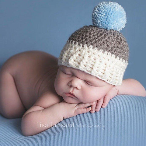 'Jaxon' Pom Pom Baby Hat // Cream, Grey + Blue