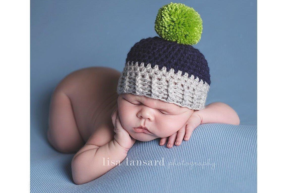 'Jaxon' Pom Pom Hat // Grey, Navy + Lime-Pom pom crochet hats-UniqueKidz