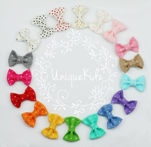 'Jayla' Felt Dot Bow // Raspberry Cream-Polka Dot Felt Bow-UniqueKidz