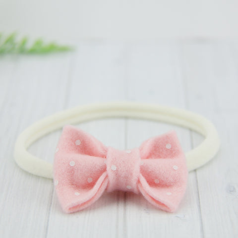 'Sweet' Felt Dot Bow // Cotton Candy