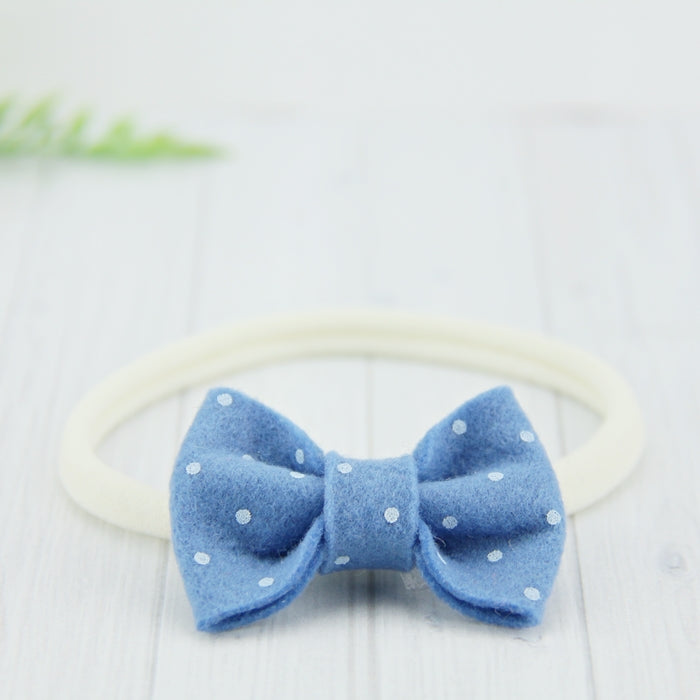 'Sweet' Felt Dot Bow // Blueberry