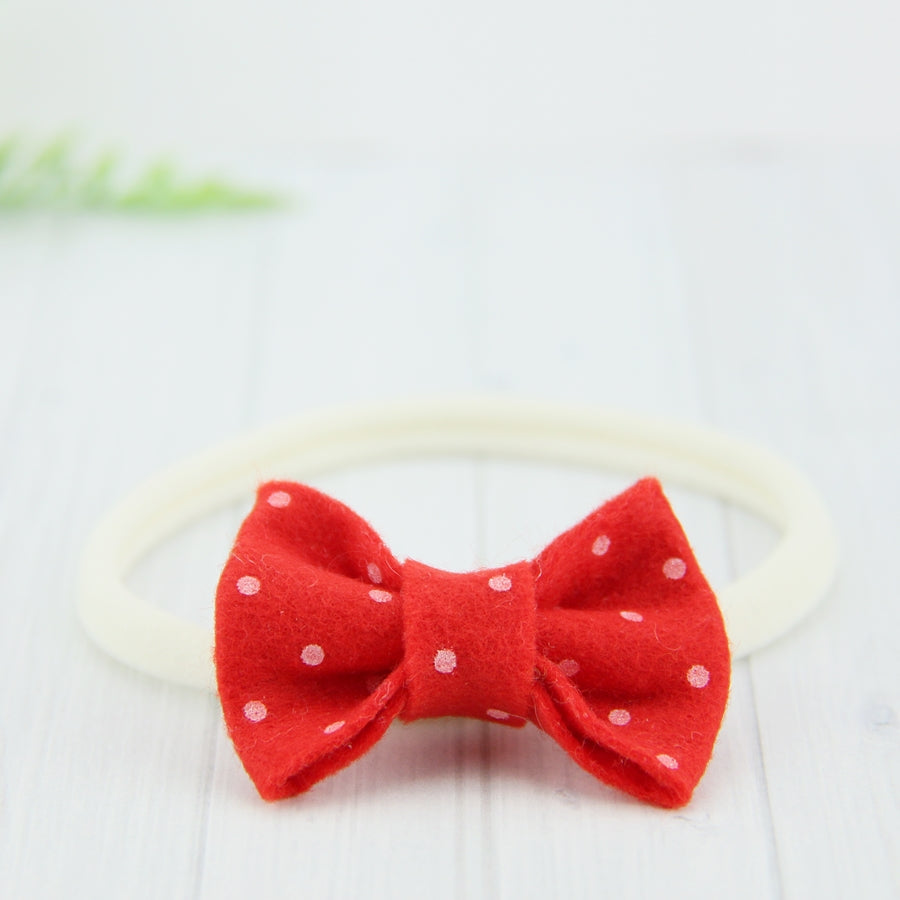 'Sweet' Felt Dot Bow // Cinnamon Heart
