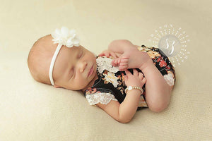 'Kinsley' Flower Headband // Ivory-Kinsley Flower Headband-UniqueKidz