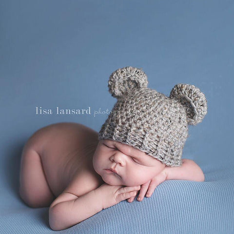 'Baby Bear' Crochet Hat // Grey Marble