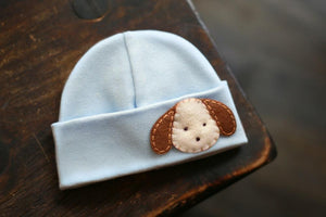 'Little Feltie' Blue Hospital Hat // Brown Puppy-Hospital Hat-UniqueKidz