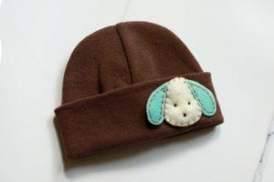 'Little Feltie' Brown Hospital Hat // Aqua Puppy-Hospital Hat-UniqueKidz