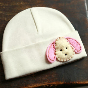 'Little Feltie' Cream Hospital Hat // Pink Puppy-Hospital Hat-UniqueKidz