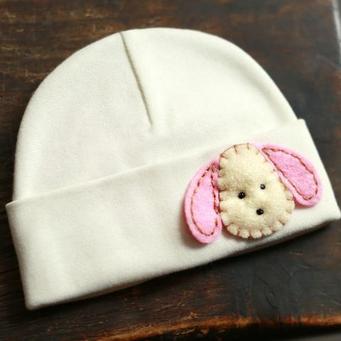 'Little Feltie' Cream Hospital Hat // Pink Puppy