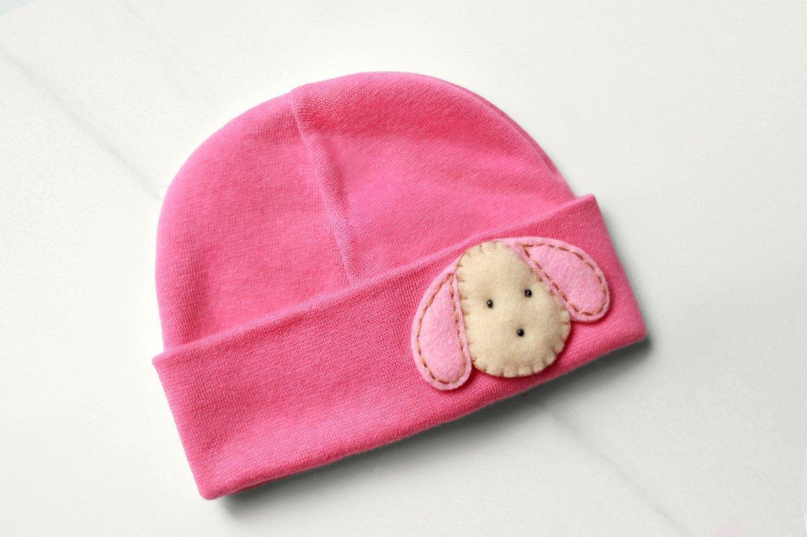 'Little Feltie' Fuchsia Hospital Hat // Pink Puppy-Hospital Hat-UniqueKidz