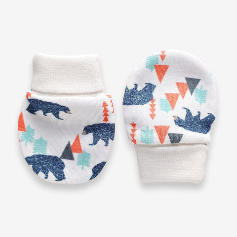 Print Scratch Mittens Organic // Little Bear