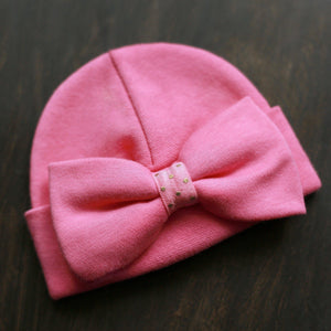 'Luxe Bow' Hospital Hat // Fuchsia-Bow Hospital Hats-UniqueKidz
