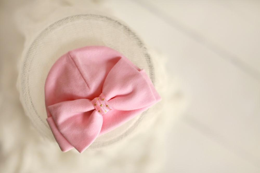 'Luxe Bow' Hospital Hat // Pink-Bow Hospital Hats-UniqueKidz