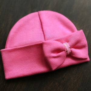 'Mini Bow' Hospital Hat // Fuchsia-Bow Hospital Hats-UniqueKidz