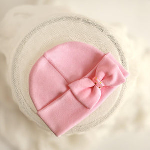 'Mini Bow' Hospital Hat // Pink-Bow Hospital Hats-UniqueKidz