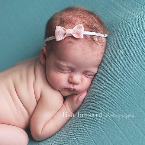 'Mini' Bow Headband // Peach