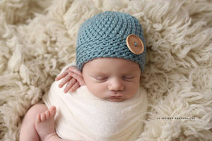 NICu 'James' Button Hat // Sea Blue-Button Hat-UniqueKidz