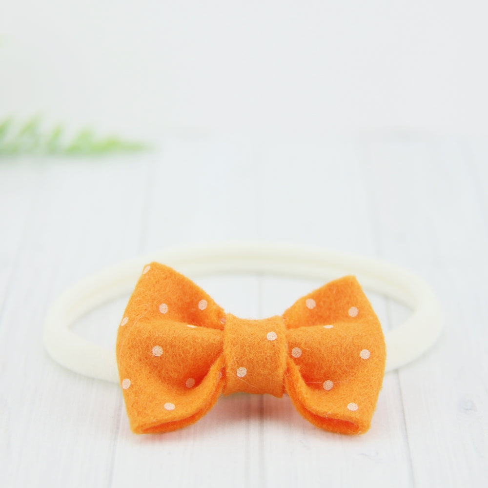 'Sweet' Felt Dot Bow // Orange Sherbet