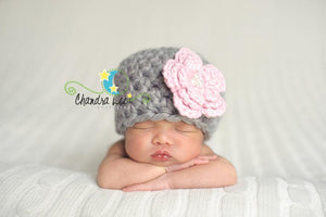 Pink Flower Crochet Hat-Crochet Hats-UniqueKidz