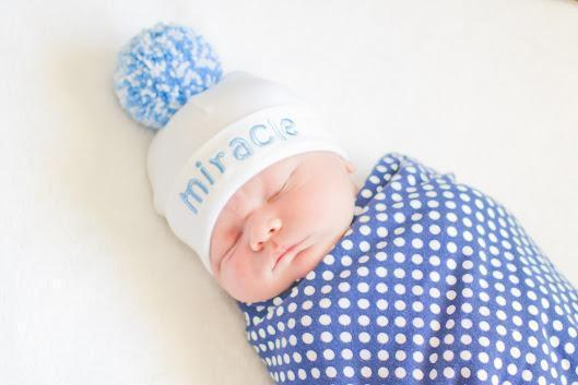 'Pom Pom' Hospital Hat // Miracle Blue-Pom Pom Hospital Hats-UniqueKidz