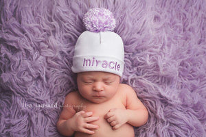 'Pom Pom' Hospital Hat // Miracle Lavender-Pom Pom Hospital Hats-UniqueKidz