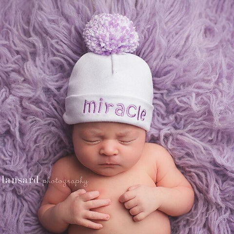'Pom Pom' Hospital Hat // Miracle Lavender