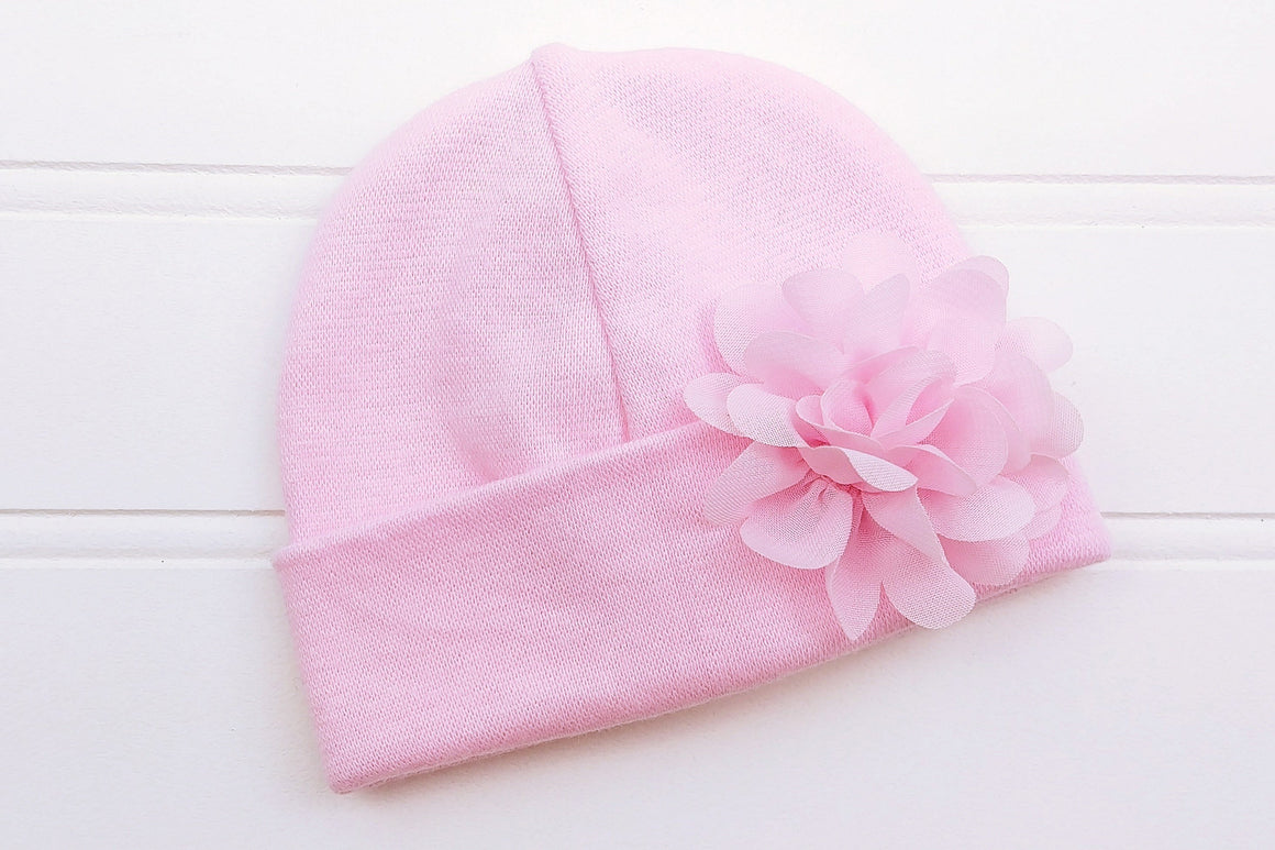 Preemie 'Blossom' Flower Hospital Hat // Pink-Flower Hospital Hats-UniqueKidz