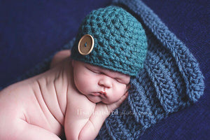 Preemie Chunky Button Hat // Teal-Button Hat-UniqueKidz