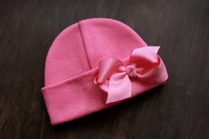 Preemie 'Cutie' Bow Hospital Hat // Fuchsia-Bow Hospital Hats-UniqueKidz