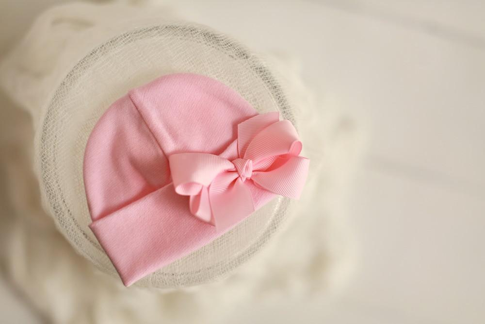 Preemie 'Cutie' Bow Hospital Hat // Pink-Bow Hospital Hats-UniqueKidz