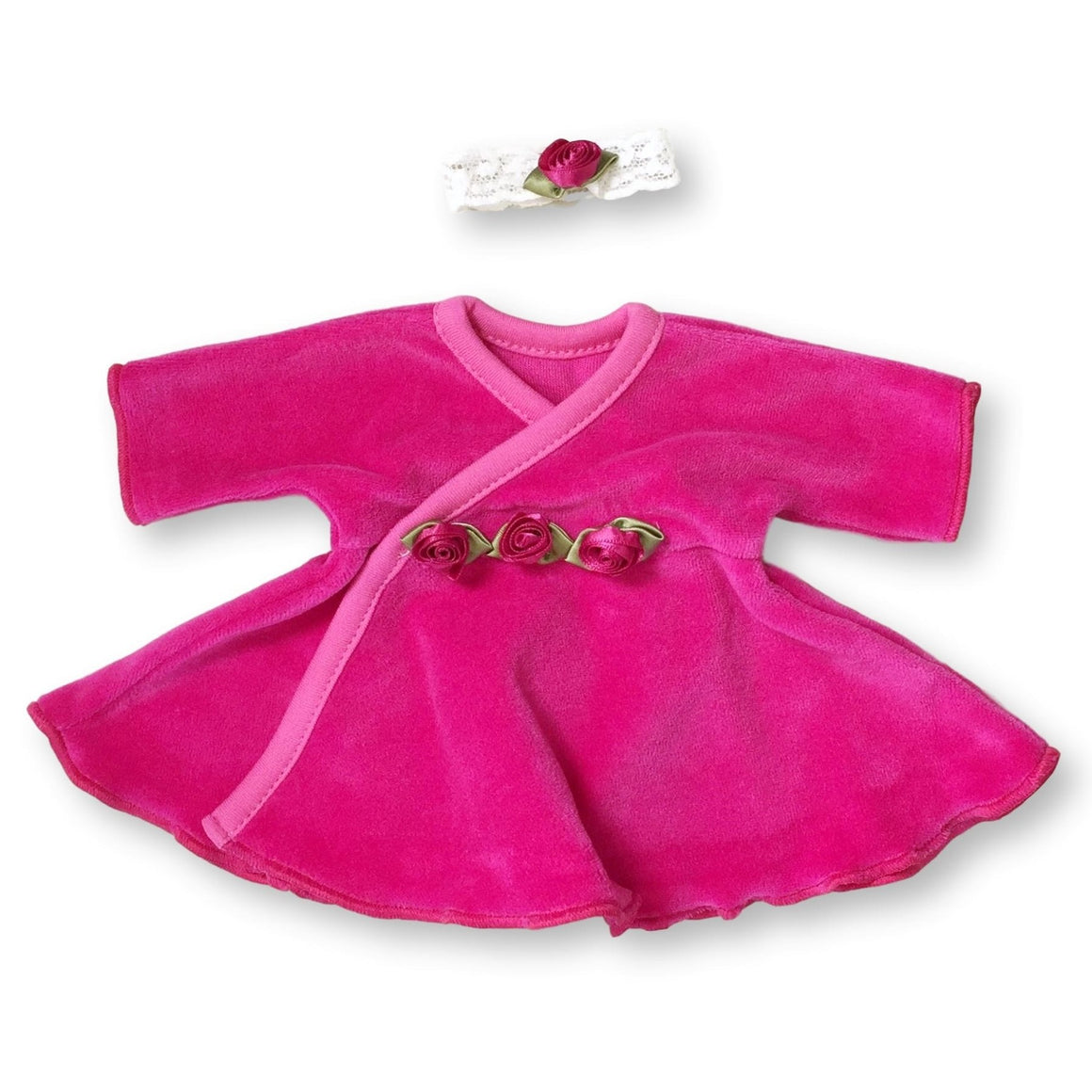 Preemie Dress + Headband // Cherry Velour-NICU Dresses-UniqueKidz