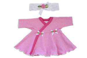 Preemie Dress + Headband // Gingham-NICU Dresses-UniqueKidz