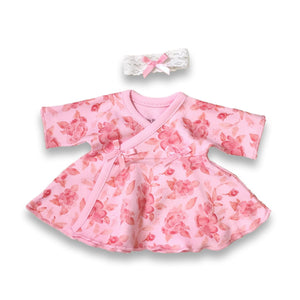 Preemie Dress + Headband // Pink Begonias-NICU Dresses-UniqueKidz