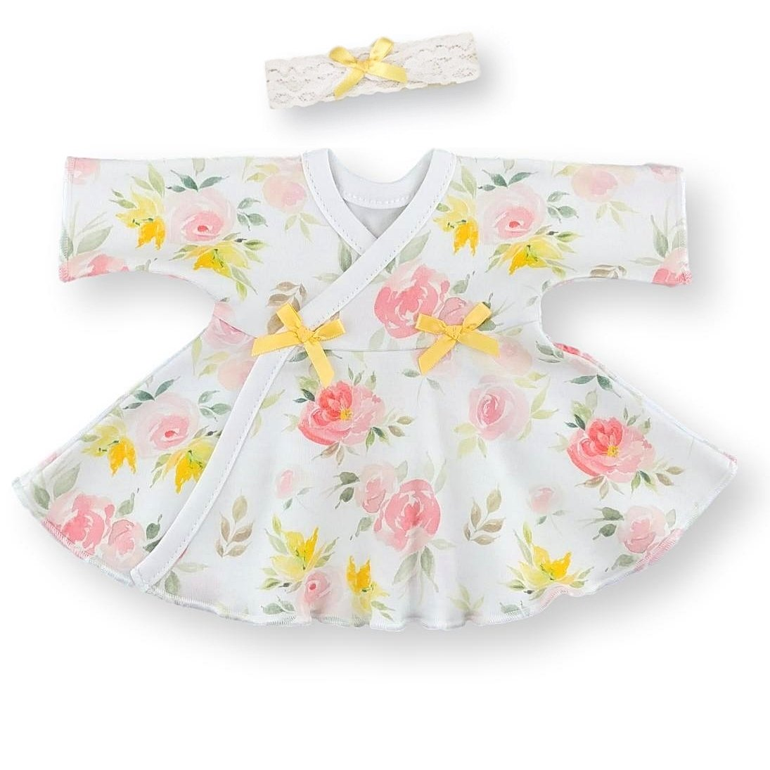 Preemie Dress + Headband // Watercolor Floral-NICU Dresses-UniqueKidz