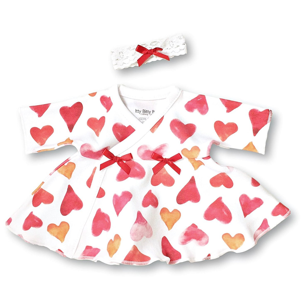 Preemie Dress + Headband // Watercolor Hearts-NICU Dresses-UniqueKidz