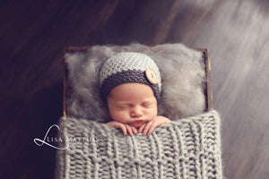 Preemie 'James' Button Hat // Charcoal + Silver-Button Hat-UniqueKidz