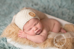 Preemie 'James' Button Hat // Cream-Button Hat-UniqueKidz