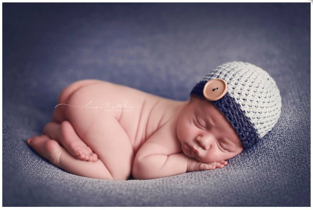 Preemie 'James' Button Hat // Silver + Navy-Button Hat-UniqueKidz
